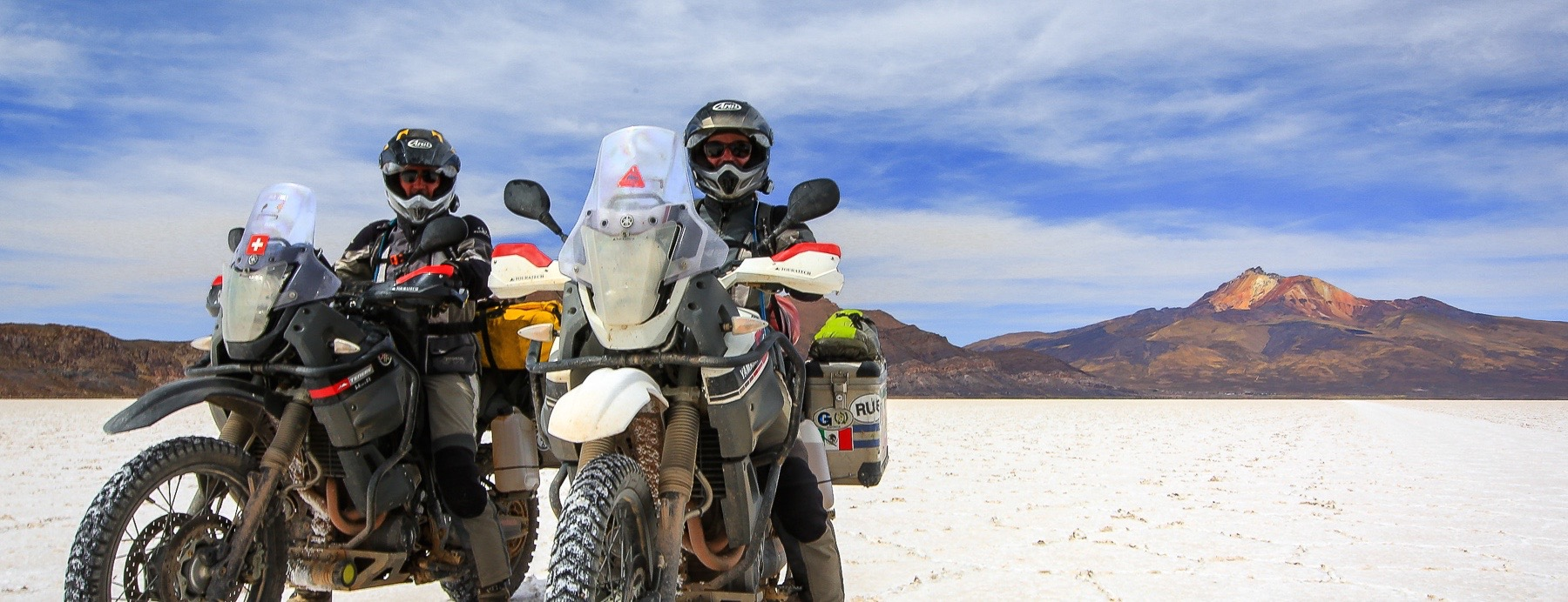 Auf dem Salar de Uyuni mit dem Motorrad Yamaha Salzsee in Bolivien